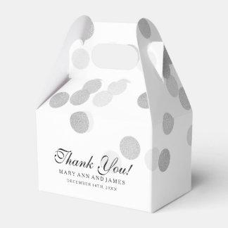Elegant Wedding Faux Silver Foil Glitter Lights Party Favour Box