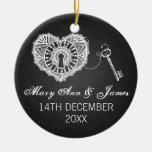 Elegant Wedding Favor Key To My Heart Black Christmas Ornaments