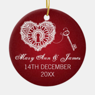 Elegant Wedding Favor Key To My Heart Red Christmas Ornament