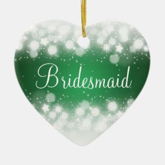 Elegant Wedding Favor  Magic Sparkle Green Christmas Ornament