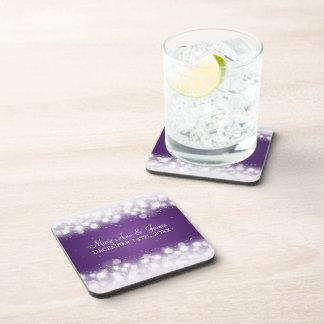 Elegant Wedding Favor Magic Sparkle Purple Drink Coasters