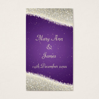 Elegant Wedding Favor Tag Dazzling Sparkles Purple Business Card