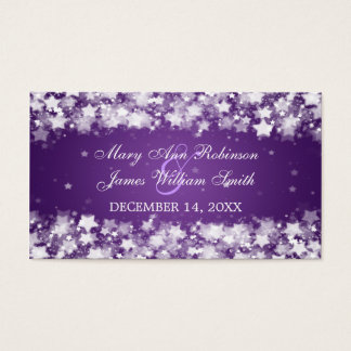 Elegant Wedding Favor Tag Dazzling Stars Purple Business Card