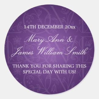 Elegant Wedding Favor Tag Love Flourish Purple Round Sticker