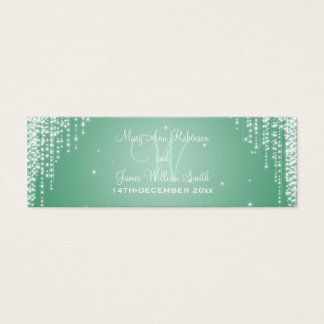 Elegant Wedding Favor Tag Night Dazzle Mint Green Mini Business Card