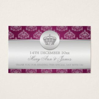 Elegant Wedding Favor Tag Royal Crown Berry Pink