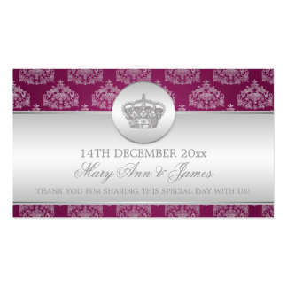 Elegant Wedding Favor Tag Royal Crown Berry Pink Business Card Templates
