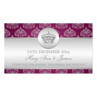 Elegant Wedding Favor Tag Royal Crown Berry Pink Pack Of Standard Business Cards