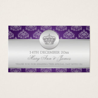 Elegant Wedding Favor Tag Royal Crown Purple