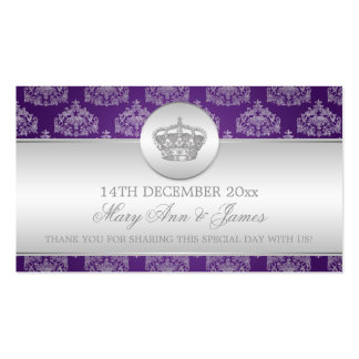 Elegant Wedding Favor Tag Royal Crown Purple Pack Of Standard Business Cards