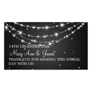 Elegant Wedding Favor Tag Sparkling Chain Black Business Card Template