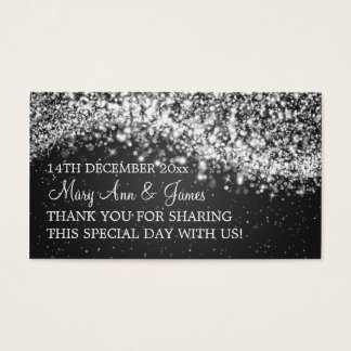 Elegant Wedding Favor Tag Sparkling Wave Black