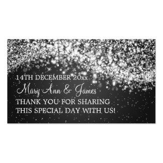 Elegant Wedding Favor Tag Sparkling Wave Black Double-Sided Standard Business Cards (Pack Of 100)