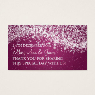 Elegant Wedding Favor Tag Sparkling Wave Plum