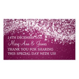 Elegant Wedding Favor Tag Sparkling Wave Plum Business Card Template