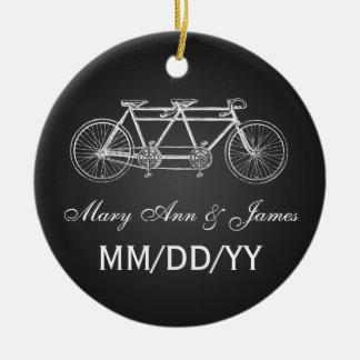 Elegant Wedding Favor Tandem Bike Black Christmas Ornament