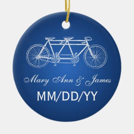 Elegant Wedding Favor Tandem Bike Blue Christmas Tree Ornament