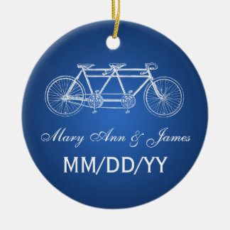 Elegant Wedding Favor Tandem Bike Blue Round Ceramic Decoration