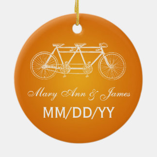 Elegant Wedding Favor Tandem Bike Orange Christmas Ornament