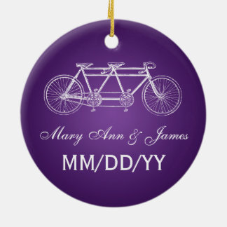 Elegant Wedding Favor Tandem Bike Purple Christmas Ornament
