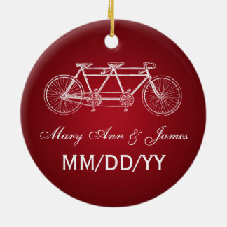 Elegant Wedding Favor Tandem Bike Red Christmas Ornament