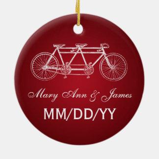 Elegant Wedding Favor Tandem Bike Red Round Ceramic Decoration