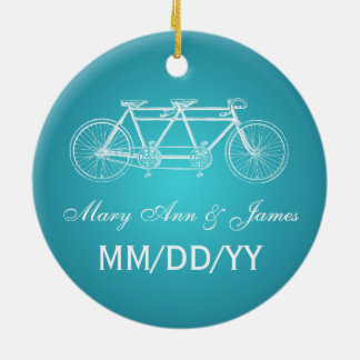 Elegant Wedding Favor Tandem Bike Turquoise Christmas Ornament