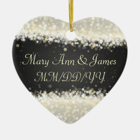 Elegant Wedding Favour Dazzling Sparkles Black Christmas Ornament