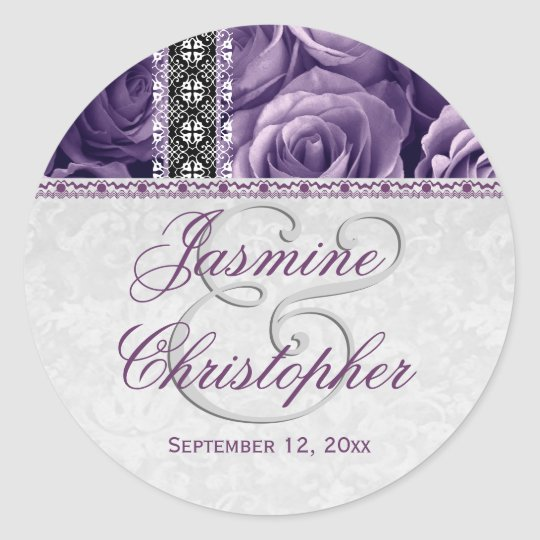 Elegant Wedding Favour PURPLE Roses and Lace V07