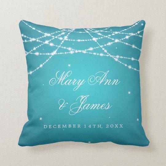 Elegant Wedding Favour Sparkling String Turquoise Cushion