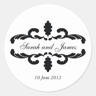 Elegant Wedding Favour Stickers Names Date