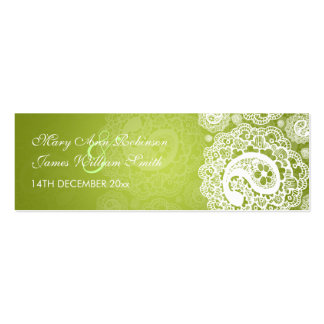 Elegant Wedding Favour Tag Paisley Lace Lime Green Pack Of Skinny Business Cards