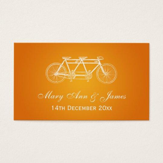 Elegant Wedding Favour Tag Tandem Bike Orange
