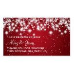 Elegant Wedding Favour Tag Winter Sparkle Red