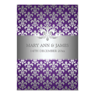 Elegant Wedding Fleur De Lis Purple 13 Cm X 18 Cm Invitation Card