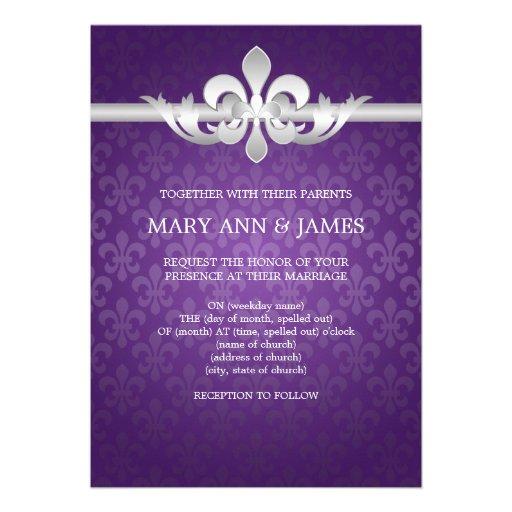 Elegant Wedding Fleur De Lis Purple Personalized Invite