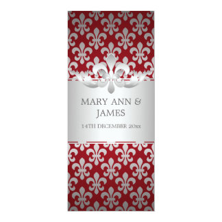 Elegant Wedding Fleur De Lis Red 10 Cm X 24 Cm Invitation Card