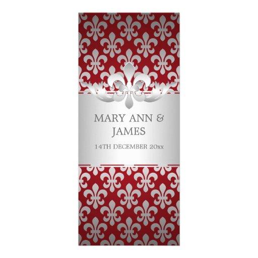 Elegant Wedding Fleur De Lis Red Personalized Invitations