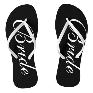 Elegant wedding flip flops for bride and groom