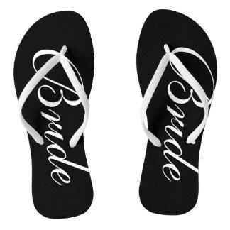 Elegant wedding flip flops for bride and groom