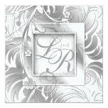 Elegant Wedding Floral Metallic Silver White Personalized Invitations