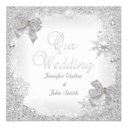 Elegant Wedding Glitter Silver White Bow Card