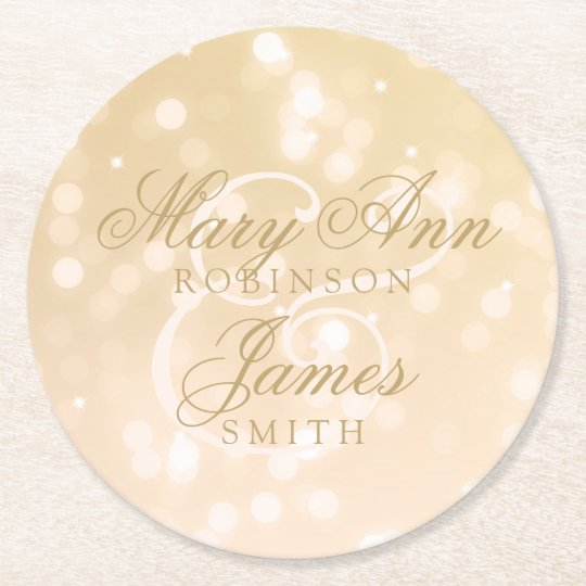 Elegant Wedding Gold Bokeh Sparkle Lights Round Paper
