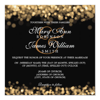 Elegant Wedding Gold Lights 13 Cm X 13 Cm Square Invitation Card