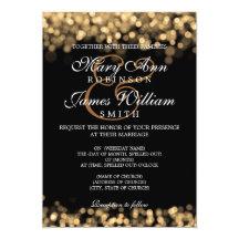 Elegant Wedding Gold Lights Custom Invites