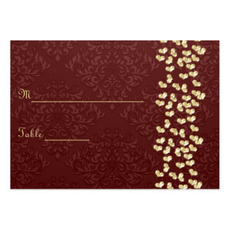 Elegant wedding Gold love hearts and red damask Large Business Cards (Pack Of 100)