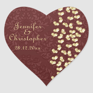 Elegant wedding Gold love hearts and red damask Heart Sticker