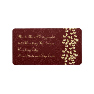 Elegant wedding Gold love hearts and red damask Address Label