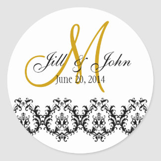 Elegant Wedding Gold Monogram Save the Date Classic Round Sticker