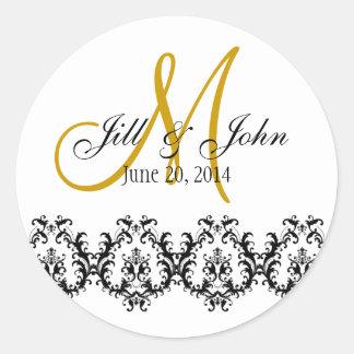 Elegant Wedding Gold Monogram Save the Date Round Sticker